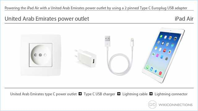 Powering the iPad Air with a United Arab Emirates power outlet by using a 2 pinned Type C Europlug USB adapter