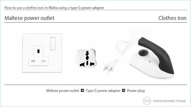 How to use a clothes iron in Malta using a type G power adapter