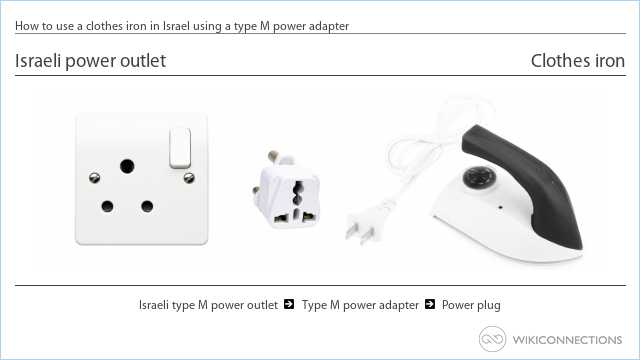 How to use a clothes iron in Israel using a type M power adapter