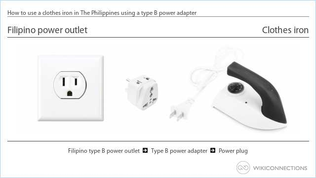 How to use a clothes iron in The Philippines using a type B power adapter