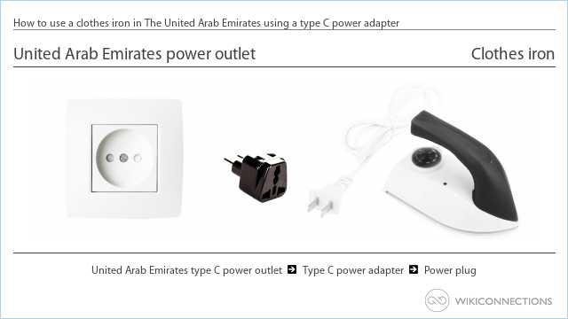 How to use a clothes iron in The United Arab Emirates using a type C power adapter