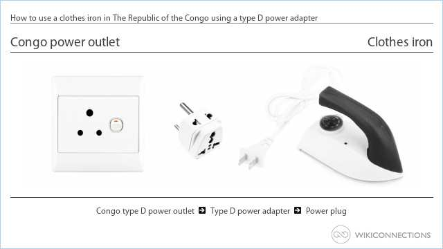 How to use a clothes iron in The Republic of the Congo using a type D power adapter
