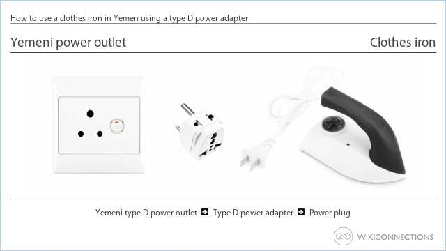 How to use a clothes iron in Yemen using a type D power adapter