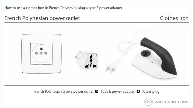 How to use a clothes iron in French Polynesia using a type E power adapter