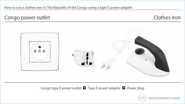 How to use a clothes iron in The Republic of the Congo using a type E power adapter