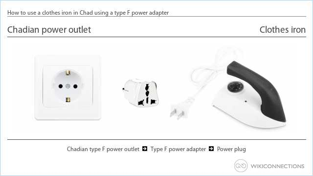 How to use a clothes iron in Chad using a type F power adapter