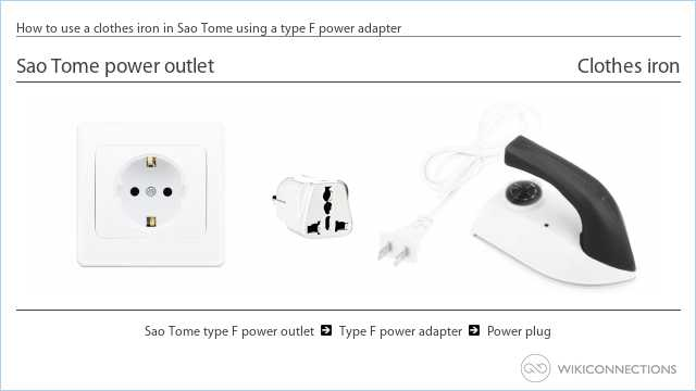 How to use a clothes iron in Sao Tome using a type F power adapter