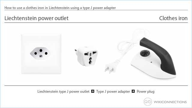 How to use a clothes iron in Liechtenstein using a type J power adapter