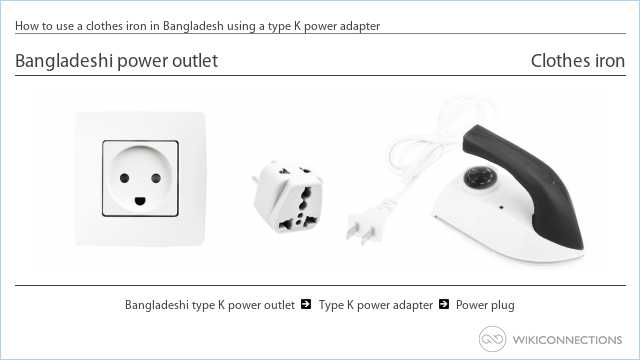 How to use a clothes iron in Bangladesh using a type K power adapter