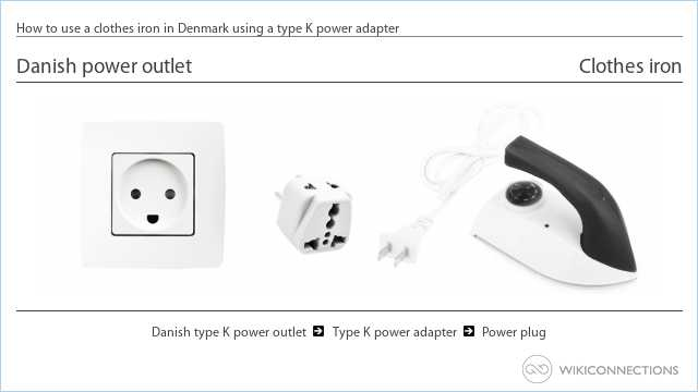 How to use a clothes iron in Denmark using a type K power adapter