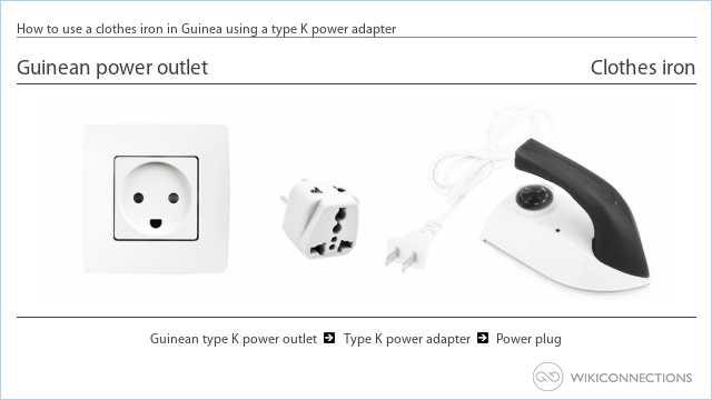 How to use a clothes iron in Guinea using a type K power adapter