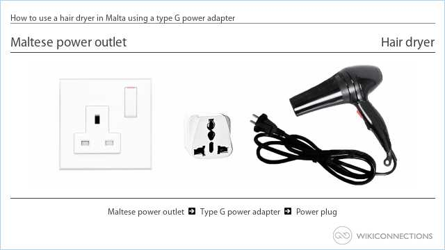 How to use a hair dryer in Malta using a type G power adapter