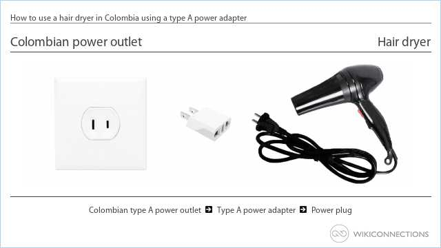 How to use a hair dryer in Colombia using a type A power adapter