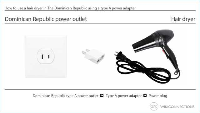 How to use a hair dryer in The Dominican Republic using a type A power adapter