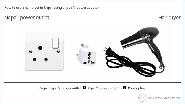 How to use a hair dryer in Nepal using a type M power adapter