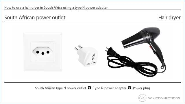 How to use a hair dryer in South Africa using a type N power adapter