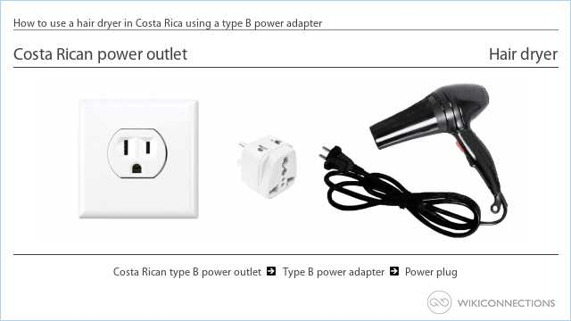 How to use a hair dryer in Costa Rica using a type B power adapter