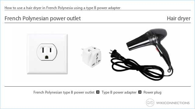 How to use a hair dryer in French Polynesia using a type B power adapter