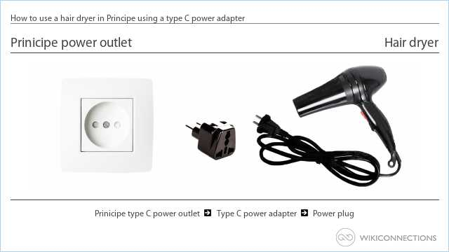 How to use a hair dryer in Principe using a type C power adapter