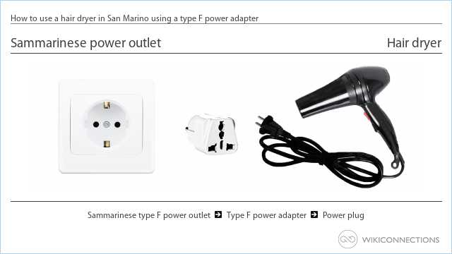 How to use a hair dryer in San Marino using a type F power adapter