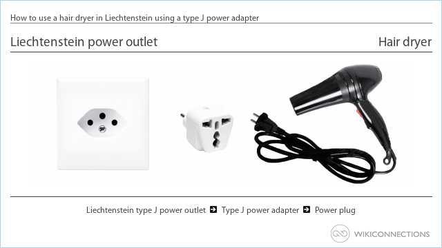 How to use a hair dryer in Liechtenstein using a type J power adapter