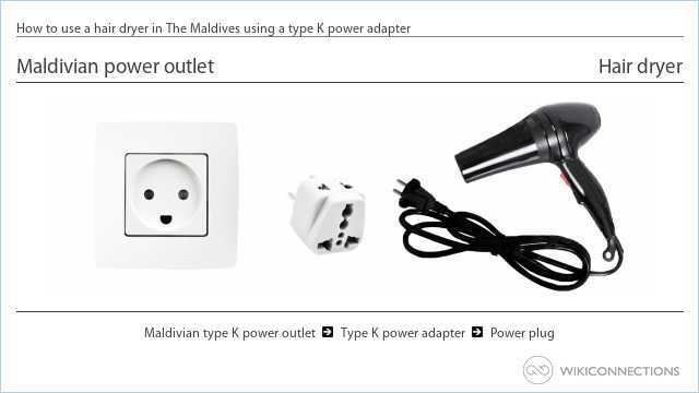 How to use a hair dryer in The Maldives using a type K power adapter