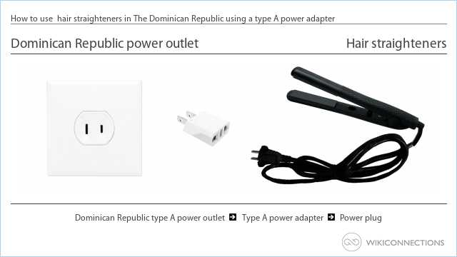 How to use  hair straighteners in The Dominican Republic using a type A power adapter