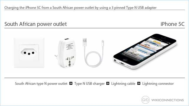 Charging the iPhone 5C from a South African power outlet by using a 3 pinned Type N USB adapter