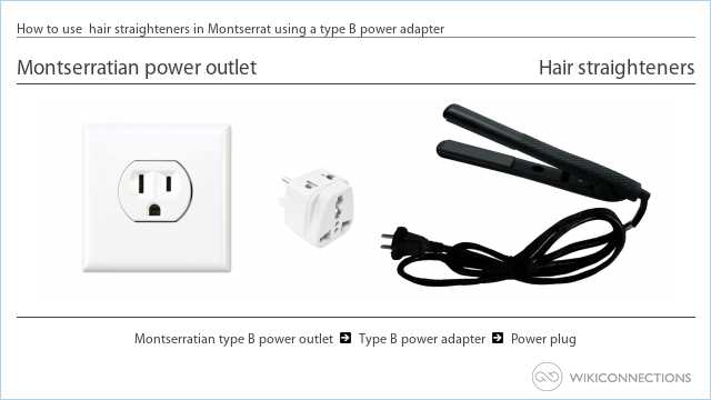 How to use  hair straighteners in Montserrat using a type B power adapter