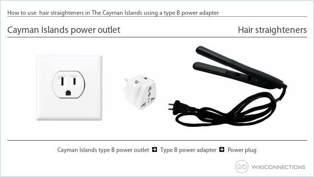 How to use  hair straighteners in The Cayman Islands using a type B power adapter