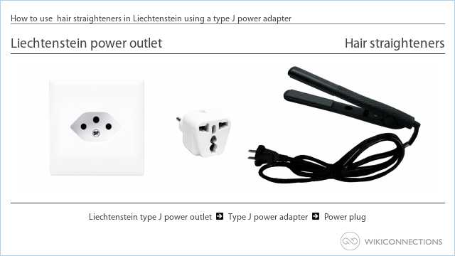 How to use  hair straighteners in Liechtenstein using a type J power adapter
