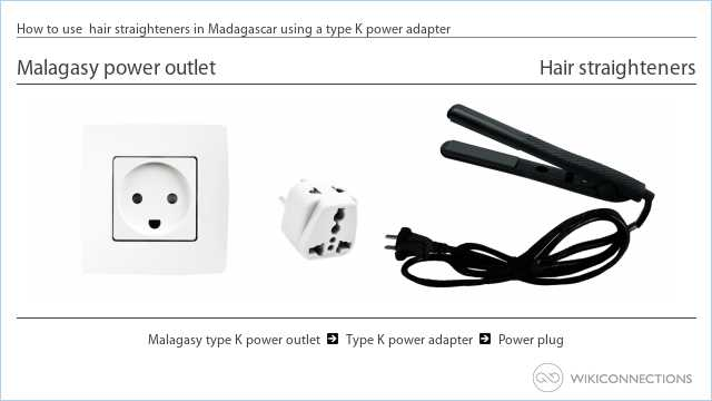 How to use  hair straighteners in Madagascar using a type K power adapter