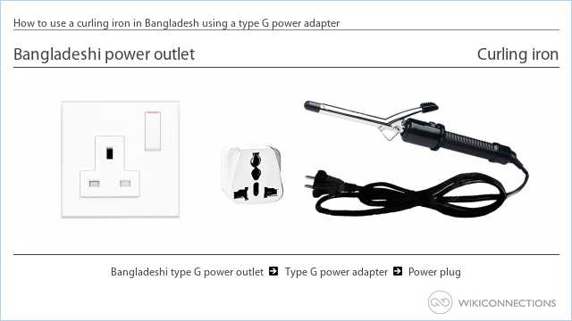 How to use a curling iron in Bangladesh using a type G power adapter
