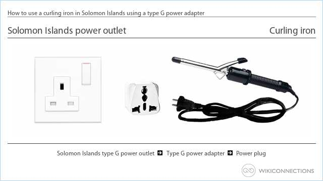 How to use a curling iron in Solomon Islands using a type G power adapter