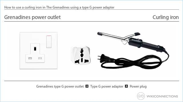 How to use a curling iron in The Grenadines using a type G power adapter