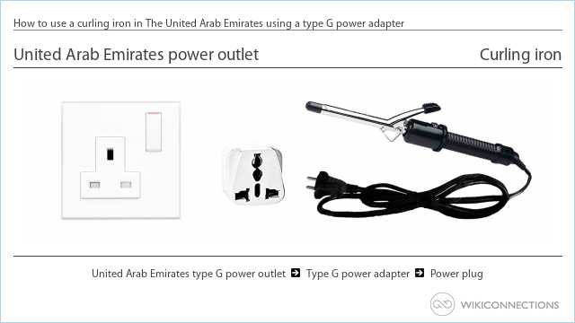 How to use a curling iron in The United Arab Emirates using a type G power adapter