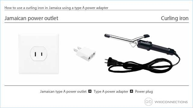 How to use a curling iron in Jamaica using a type A power adapter