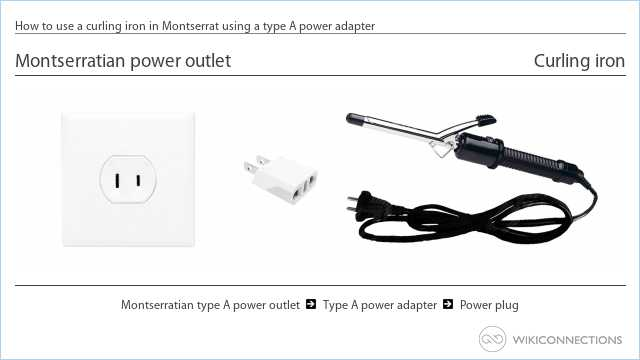 How to use a curling iron in Montserrat using a type A power adapter