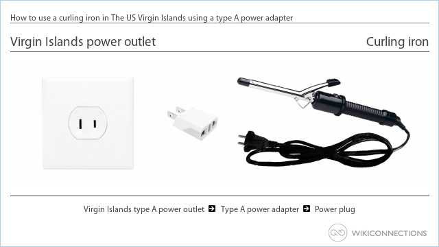 How to use a curling iron in The US Virgin Islands using a type A power adapter