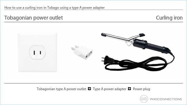How to use a curling iron in Tobago using a type A power adapter