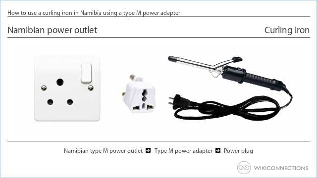 How to use a curling iron in Namibia using a type M power adapter