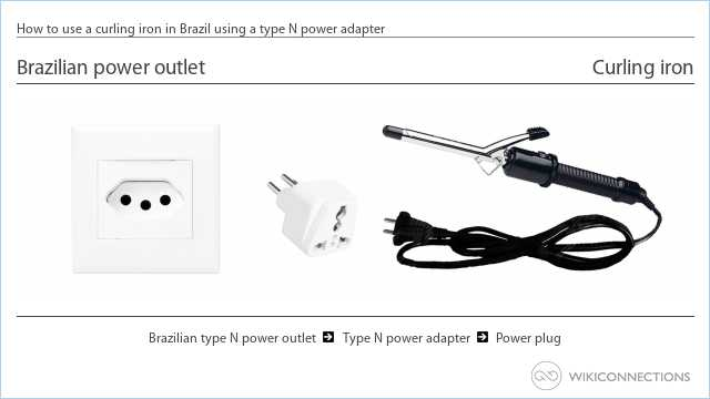 How to use a curling iron in Brazil using a type N power adapter