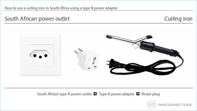 How to use a curling iron in South Africa using a type N power adapter