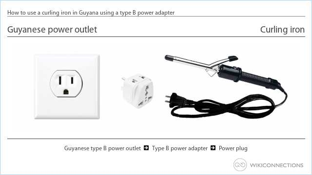How to use a curling iron in Guyana using a type B power adapter
