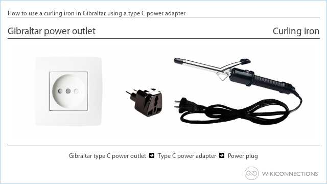 How to use a curling iron in Gibraltar using a type C power adapter