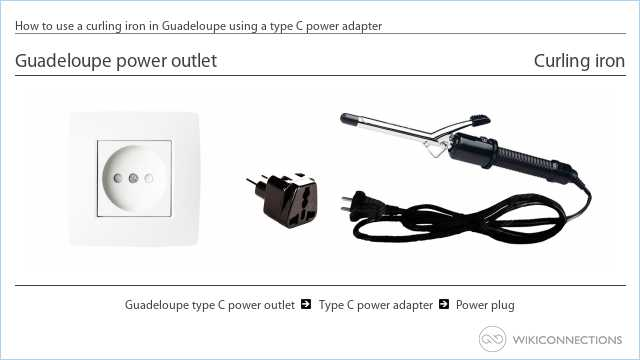 How to use a curling iron in Guadeloupe using a type C power adapter