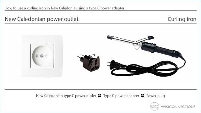 How to use a curling iron in New Caledonia using a type C power adapter