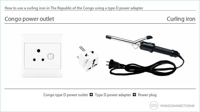How to use a curling iron in The Republic of the Congo using a type D power adapter