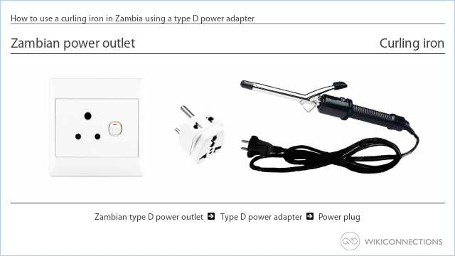 How to use a curling iron in Zambia using a type D power adapter