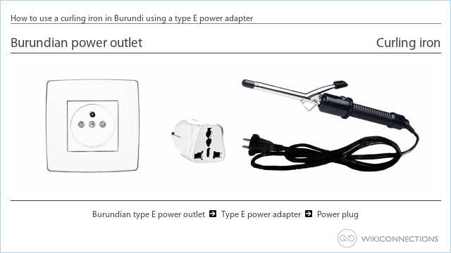 How to use a curling iron in Burundi using a type E power adapter